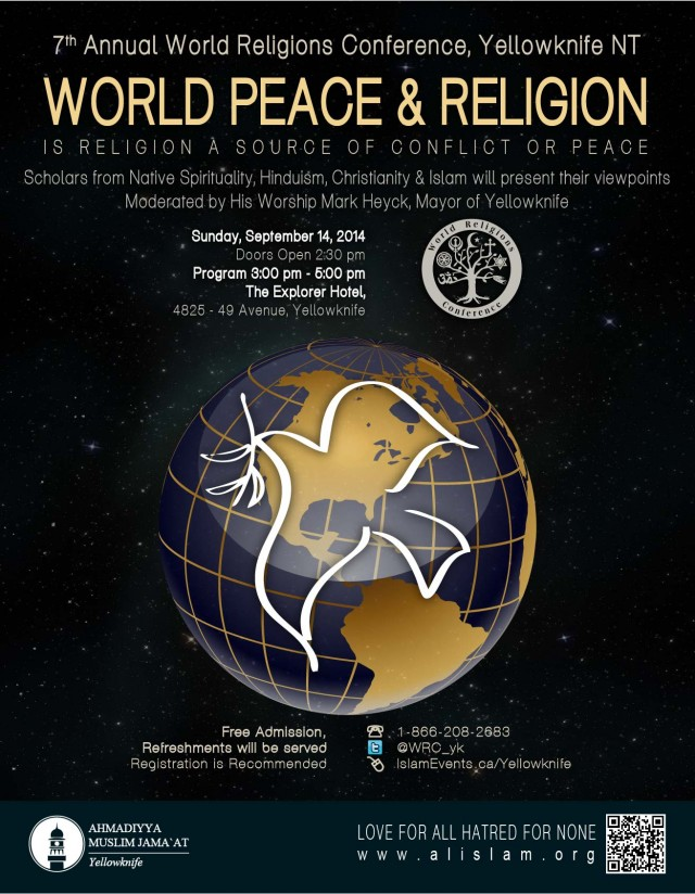World Peace and Religion: 7th Annual world Religions Conference @ The Explorer Hotel | Yellowknife | Northwest Territories | Canada