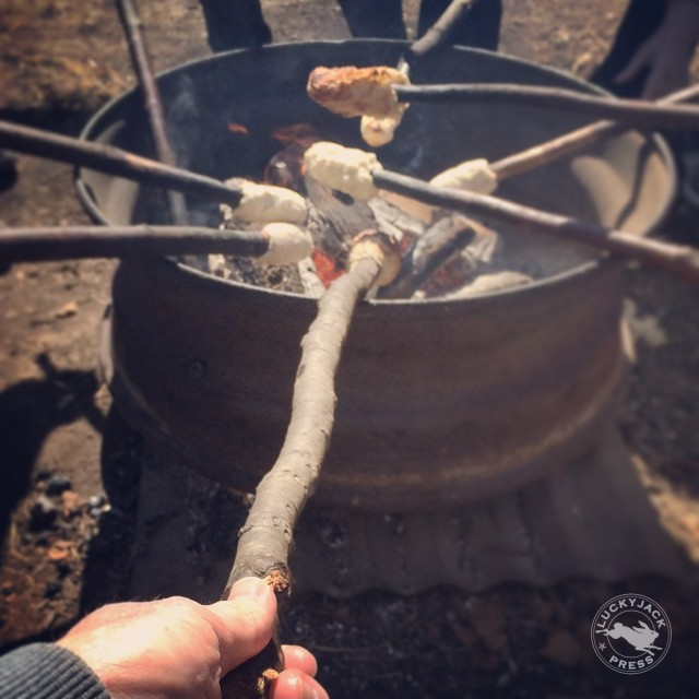 My campfire bannock cooked on a stick over an open fire.